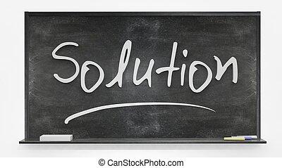 Solution written on blackboard