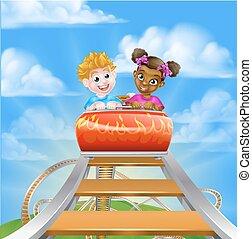 Roller Coaster Fair Theme Park - Cartoon boy and girl kids...