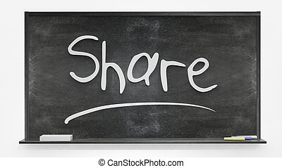 Share written on blackboard