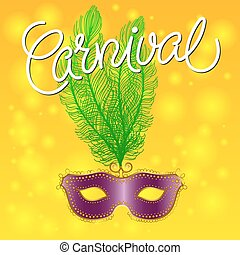 Carnival Festive background with Purple mask with Feathers...