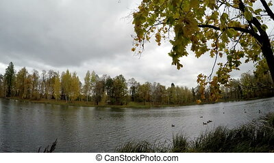 cloudy autumn day over the lake Russia