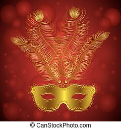 Carnival Festive background with Golden mask with Feathers...