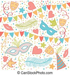 Carnival Festive background with Masks, Heart Shapes,...