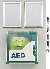 Aed defibrillator in the box at public place