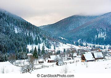 Carpathians village in the winter - Transcarpathians village...