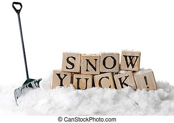 Snow, Yuck! - Large, rustic alphabet blocks in snow arranged...