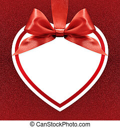 white heart with ribbon bow on red background