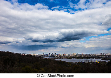 The left bank of the Dnieper river in Kyiv view from the...