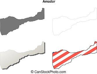 Amador County, California outline map set - Amador County,...