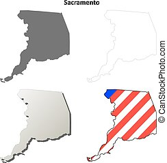 Sacramento County, California outline map set
