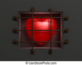 Heart in jail - Symbol in the form of a pulsating heart...