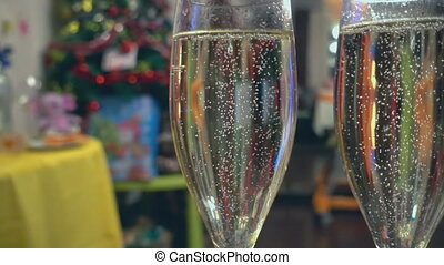 Bubbles in a glass - The bubbles in a glass of champagne,...