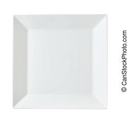 Square white porcelain plate - Square white porcelain dinner...