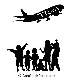 children vector with travel silhouette