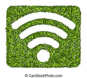 Wi-Fi Icon from the green grass Isolated on white