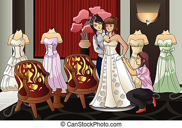 Bride Fitting Her Wedding Gown - A vector illustration of...