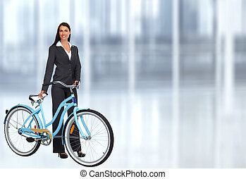 Business, femme, à, a, bicycle.,