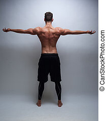 male model with muscular back