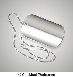 Metal dog tag - Realistic metal dog tag and chain on grey...