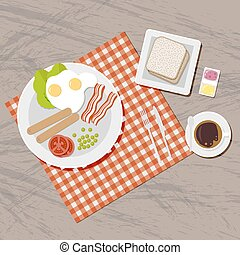 Breakfast set. Top view. - Breakfast set. Blanket on wooden...