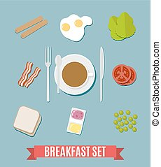 Breakfast small set. - Breakfast set. including sausages,...
