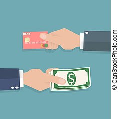 hands with credit card and cash