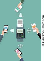 Nfc payment flat design style - Pos terminal confirms the...