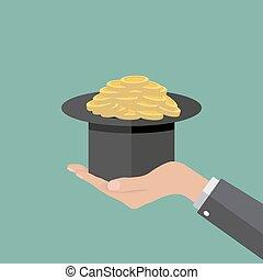 magic hat full of coins
