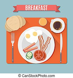 Small breakfast Top view - Breakfast set red Blanket on blue...