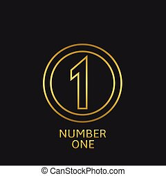 Number one icon - Golden number one icon. Victory award best...
