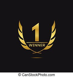 First place icon - Golden number one icon. Victory award...