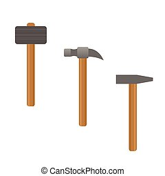 Illustration of Hammer set - Metal Hammers with wooden...