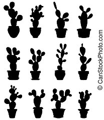 cactus at potted - Black silhouettes of cactus at potted,...