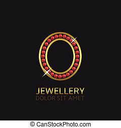 Golden Letter O logo with red precious stones. Luxury, royal...