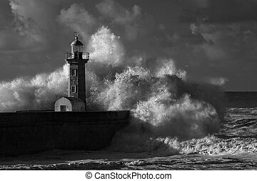 Infrared stormy waves over old lighthouse - Big ocean stormy...