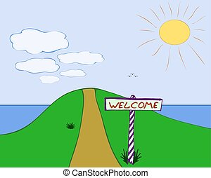 """The sign """"Welcome"""" near the road in the hills"""