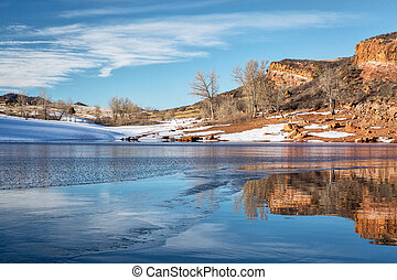 Colorado mountain lake in winter