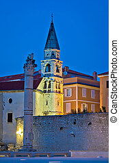 Zadar landmarks evening vertical view, Dalmatia, Croatia