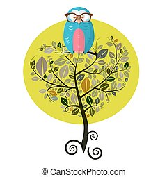 Vector Flat Design Tree with Owl Isolated on White Background