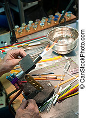 Glass Artist\'s Workbench - The workbench of a glass artist.