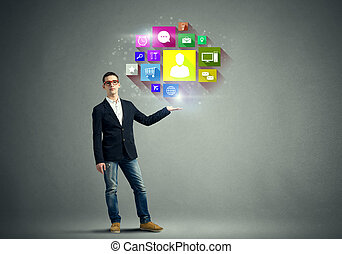 Media interface - Young man presenting in hand social...