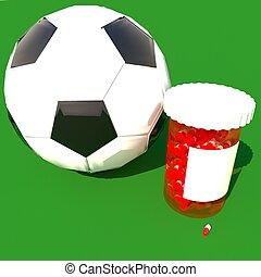 Pills tube near a soccer ball