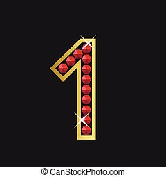 Number one symbol - Golden number one symbol with red jewels...