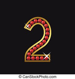 Number two symbol - Golden number two symbol with red...