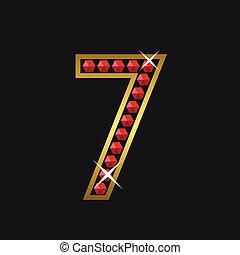 Number seven symbol - Golden number seven symbol with red...