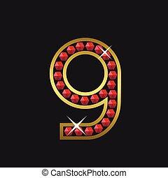 Number nine symbol - Golden number nine symbol with red...