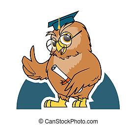 búho, Estudiante, graduación