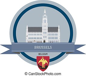 Brussels ribbon banner - Brussels symbol at the round banner...