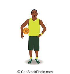 Basketball-player with ball - Dark-skinned basketball-player...