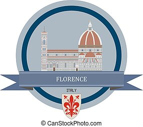 Florence ribbon banner - Florence symbol at the round banner...